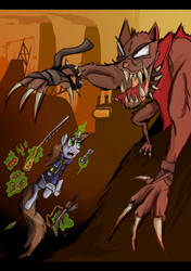 [I DID NOT MAKE THIS] Little Pip Vs Hellhound by Baka-Neku