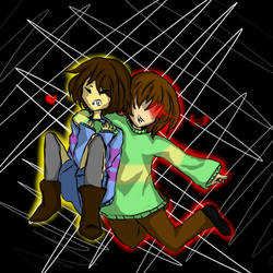 frisk and chara by eonsic