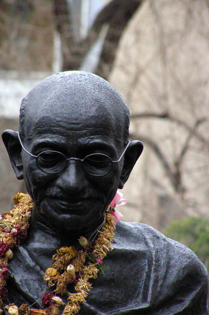 Gandhi in the rain by GUDsine
