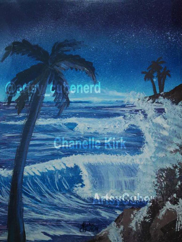 Seascape Spray Paint Art by kirkchanelle