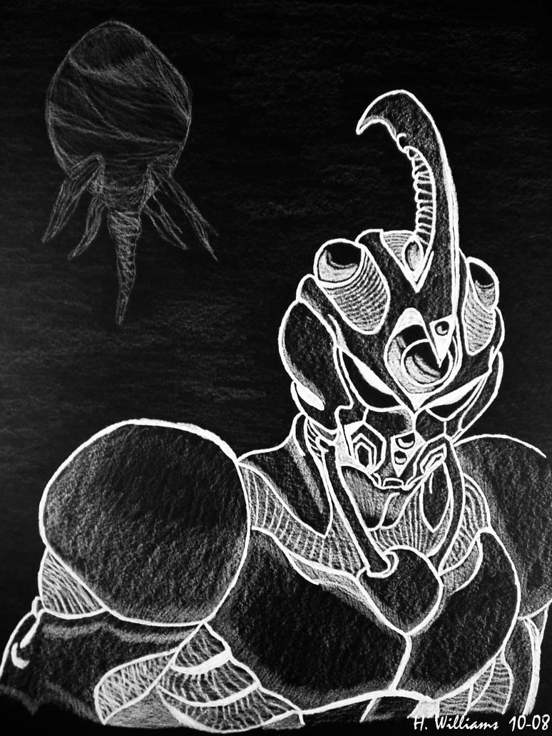 Guyver White on Black by 12jack12