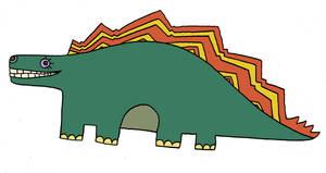 Yellow Submarine style Stegosaurus