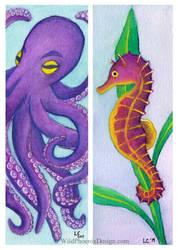 Sea Creatures Bookmarks by Wildphoenix22