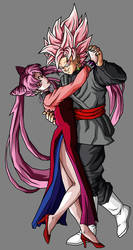 black lady y black goku by theothersmen