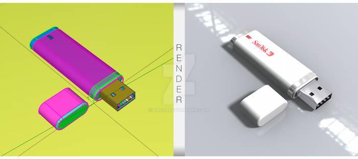 USB Storage Modelling+Render