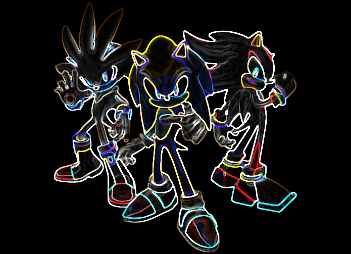 Sonic, Shadow, and Silver (Glow Edges) by SondowverDarKRose