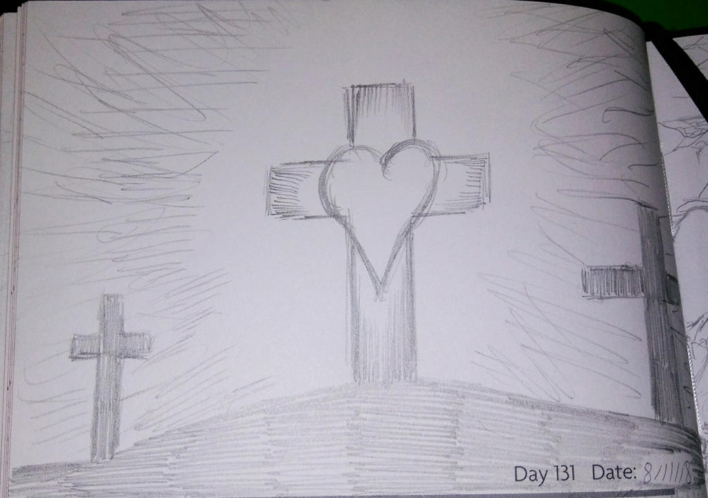 Sketch Journal Day 131: In the Middle of 3 Crosses by TheSpiritCreative