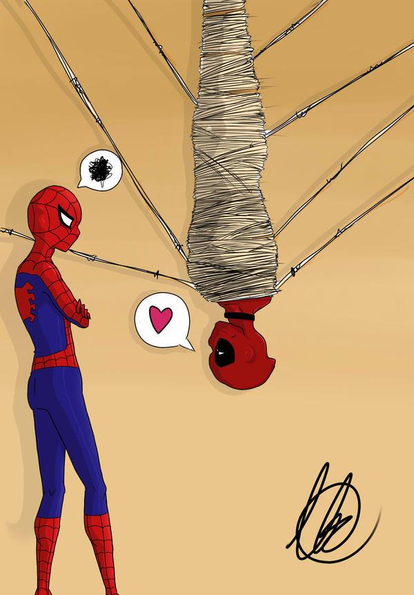 Spidey and Deadpool by BucketofSnapdragon