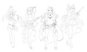 [Companion of the Moonlit Blade] Character Lineart by RobotCatArt
