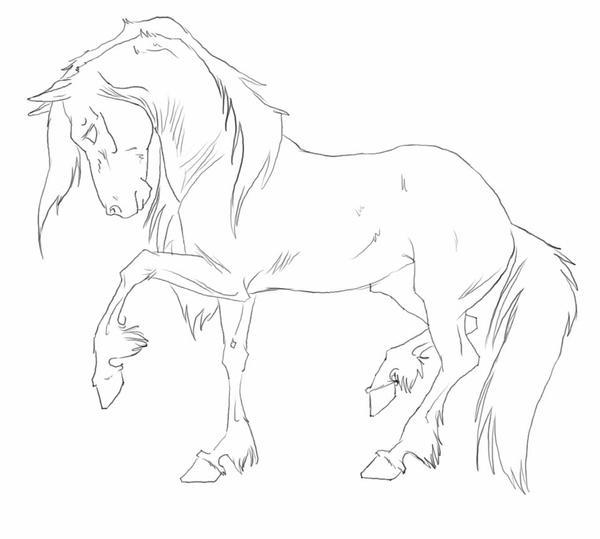 Horse Lineart : Horse line art by blackseagull on deviantart