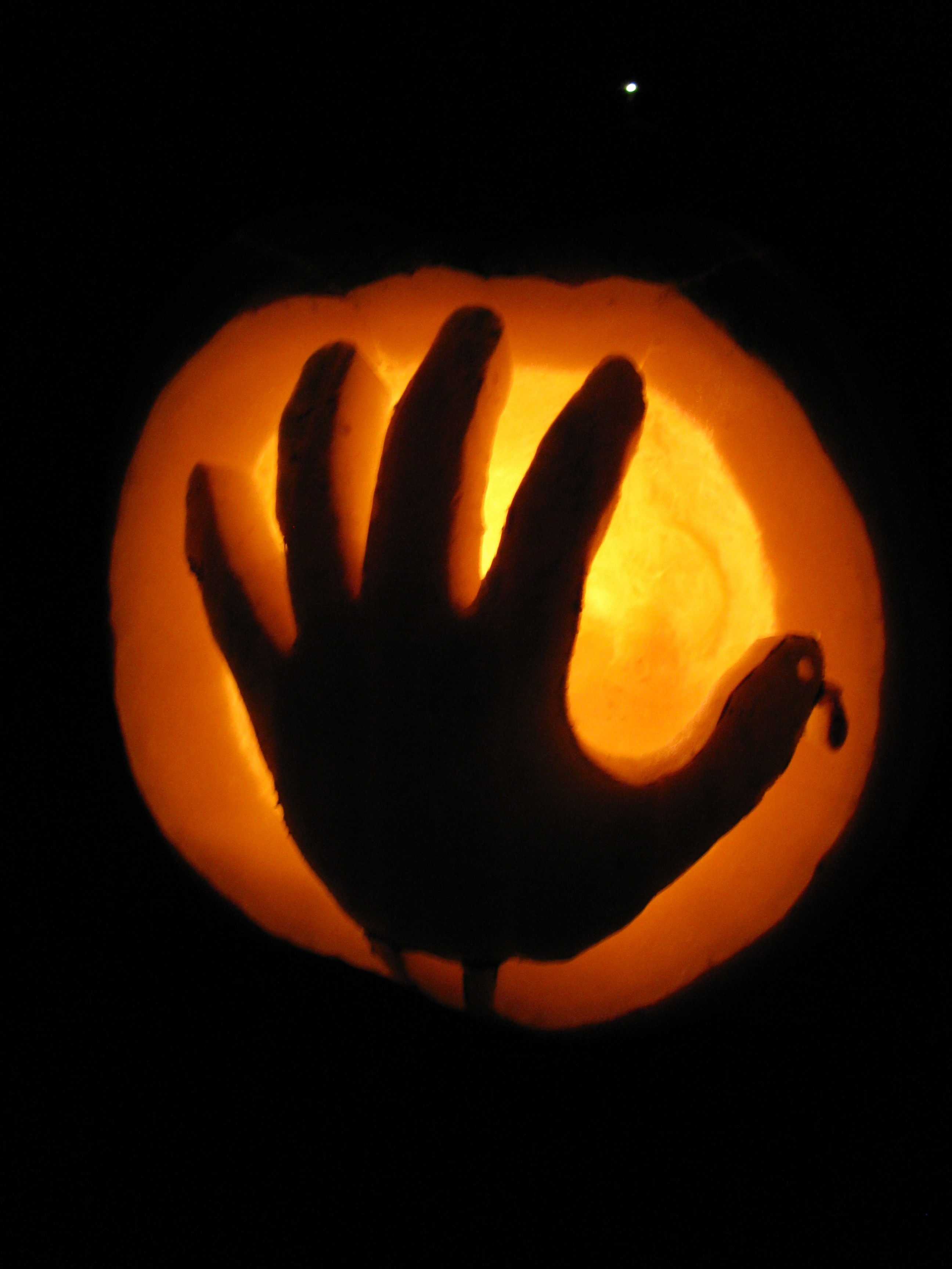 Hand turkey lit by pumpkin crazy on deviantart