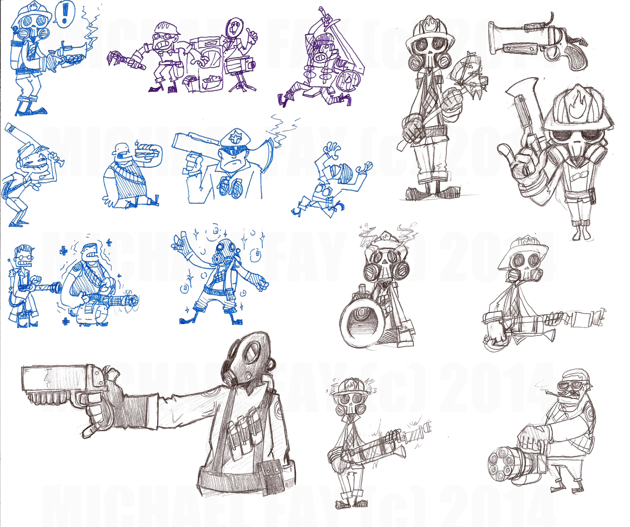 Team Fortress Class Doodles by MichaelFay
