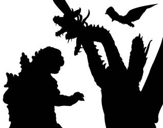 Monster Zero in silhouette