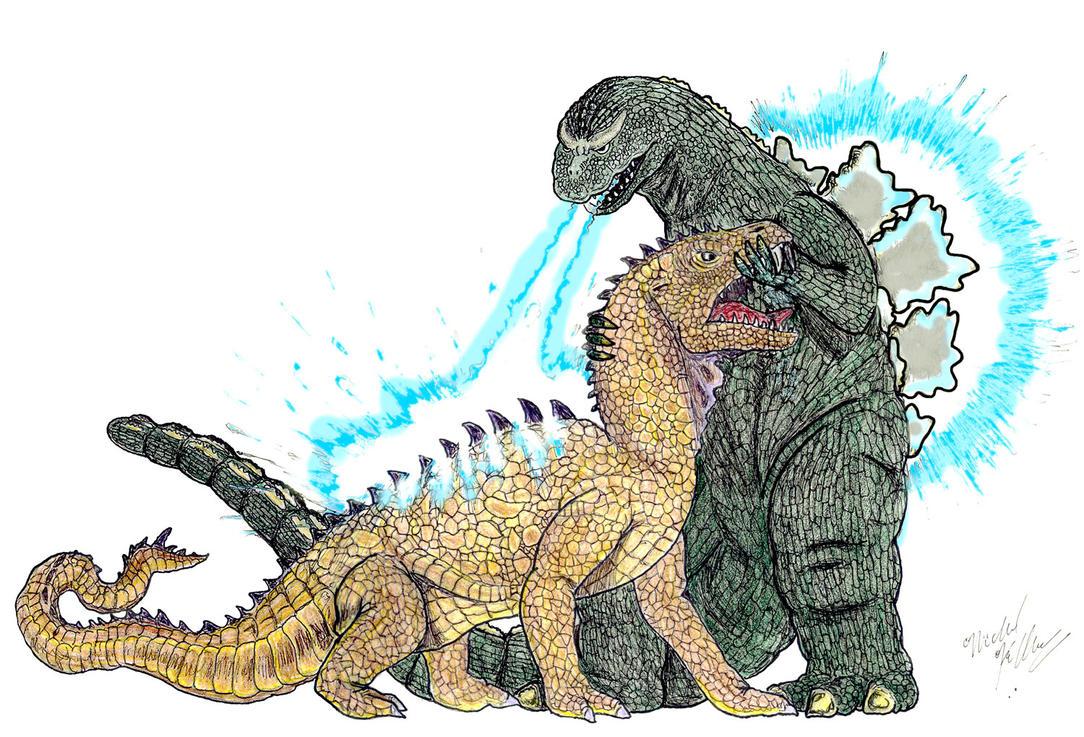 Godzilla '64 Vs Rhedosaurus by Kaijubait