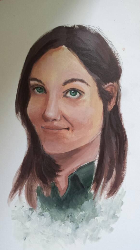 Acrylic portrait practice by Purple12345