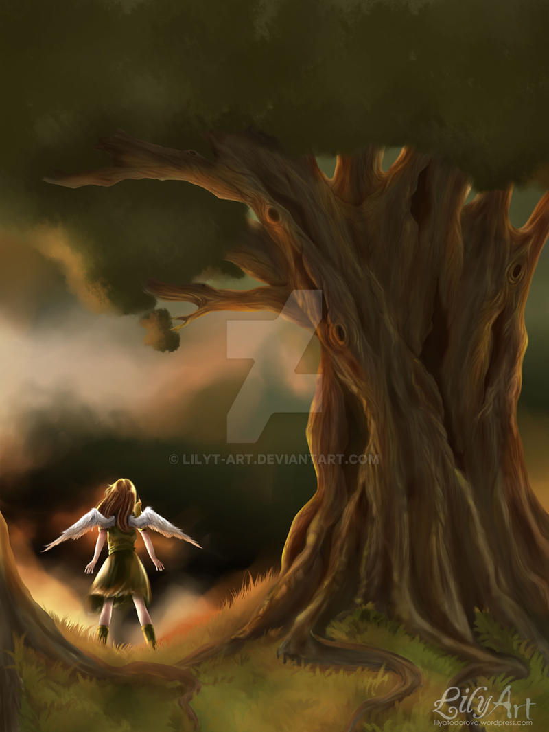 Under the old tree by LilyT-Art