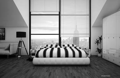 Skyline Bedroom Bw by photoxdesign