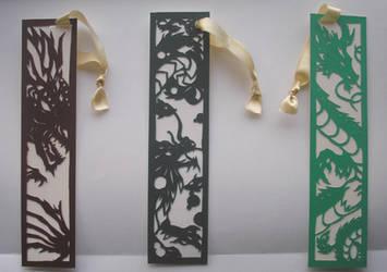 Papercut Dragon Bookmarks by freaky-dragonlady