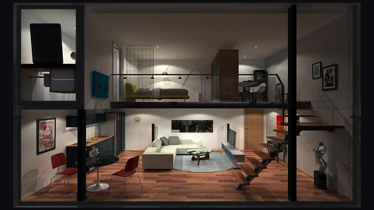 Loft Apartment 0 Hd Night By Richert On Deviantart