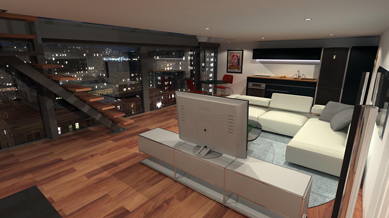 Loft Apartment 3 Hd Night By Richert On Deviantart