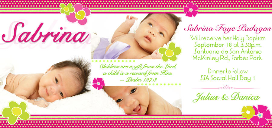 Free Baptism Invitation with great invitation layout