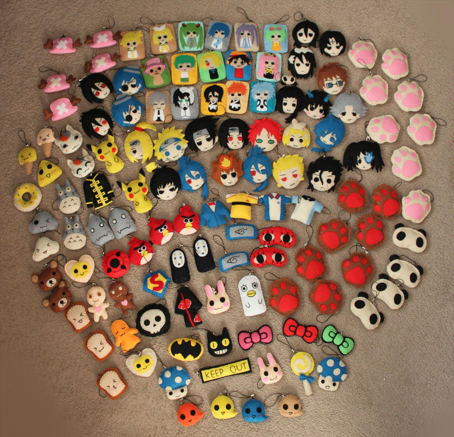 Felt products keychains and pins for Fanime by jaysanzo