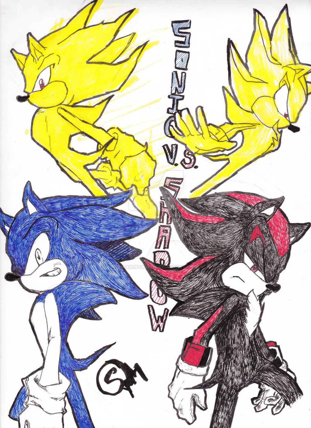 Sonic vs Shadow Fanart by drawingat131 on DeviantArt