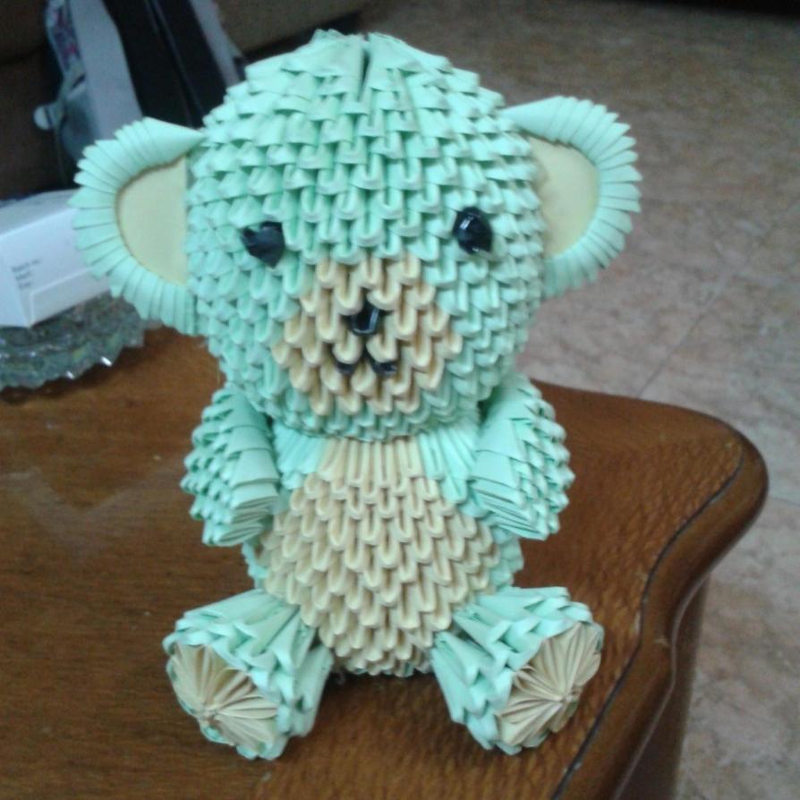 3d origami teddy bear by taimagroo on deviantart