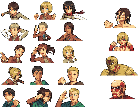 Attack on Titan portraits by JJoploo47
