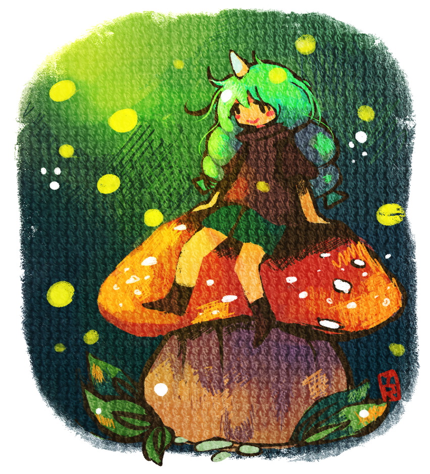 Girl sitting on mushroom by Teatime-Rabbit