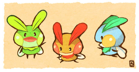 Moth frogs by Teatime-Rabbit