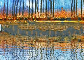 Halloween bonfire lakeside by metalflame13