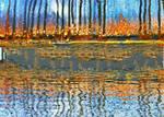 Halloween bonfire lakeside