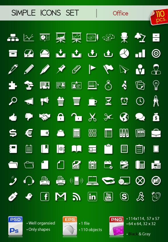 Set of simple icons OFFICE by Sergey-Alekseev
