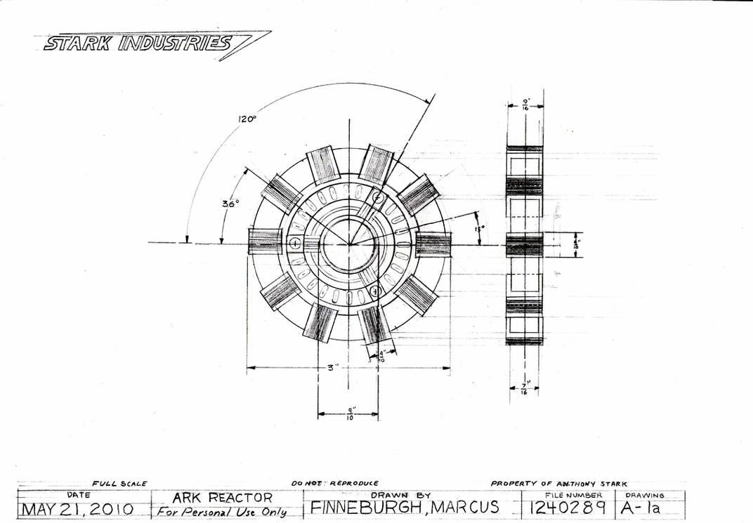 Arc Reactor Technical Drawing by MarkFinn