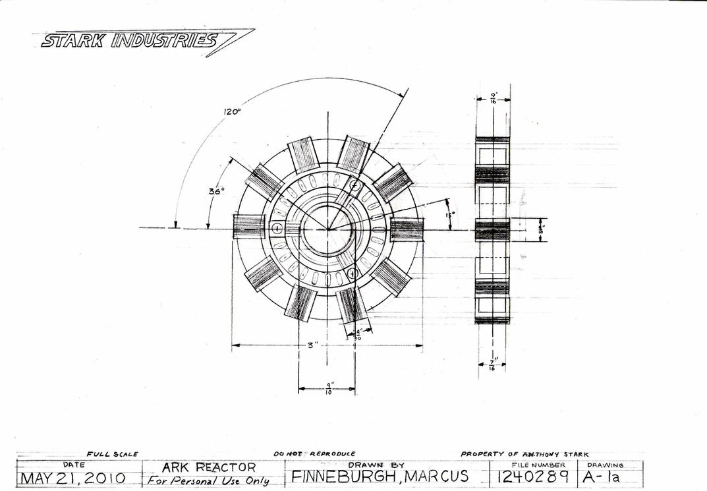 Superb Arc Reactor Technical Drawing By MarkFinn ...