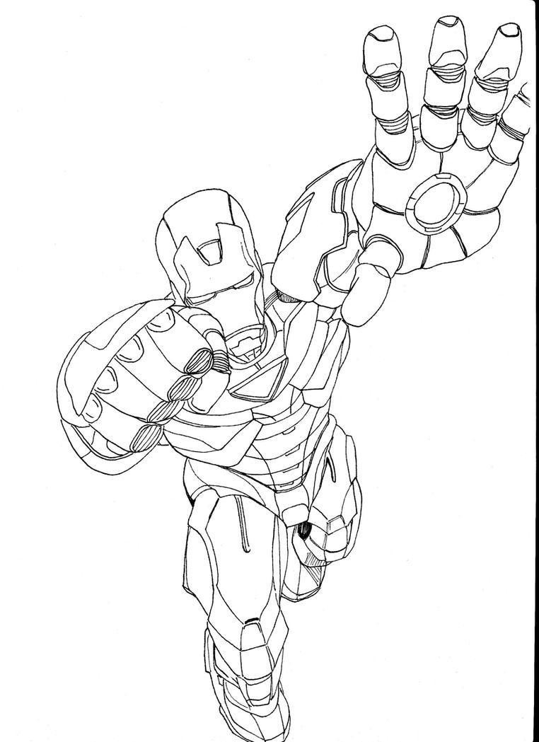 iron man ink drawing by markfinn