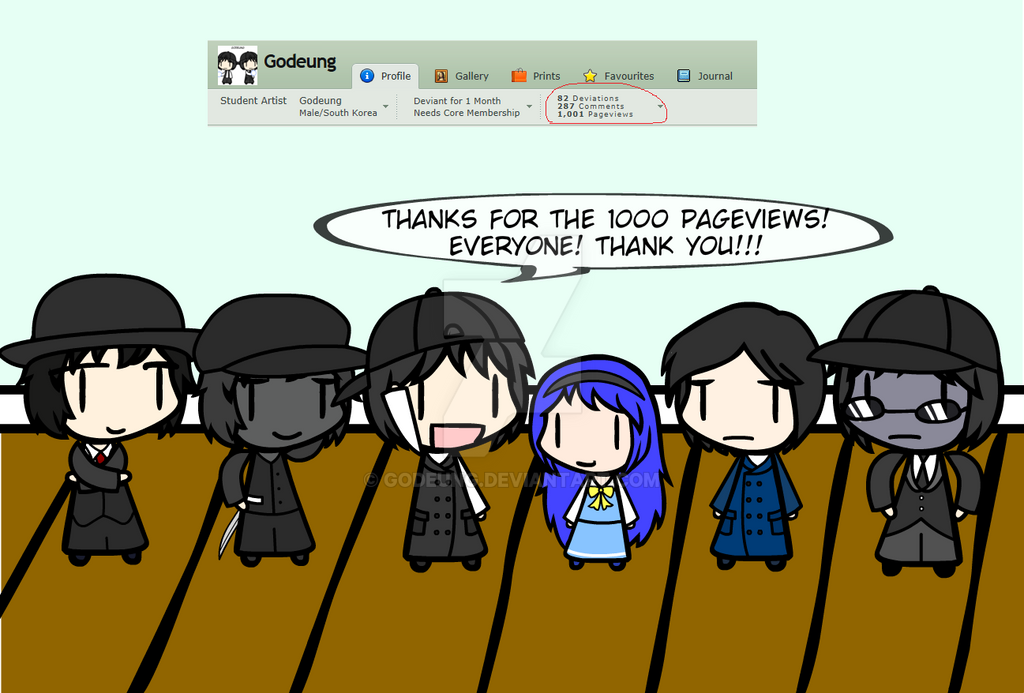 (walfas) Everyone! I did! 1000 pageviews! by Godeung