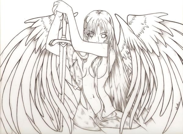 LineArt-Angel By Dark216 On DeviantArt