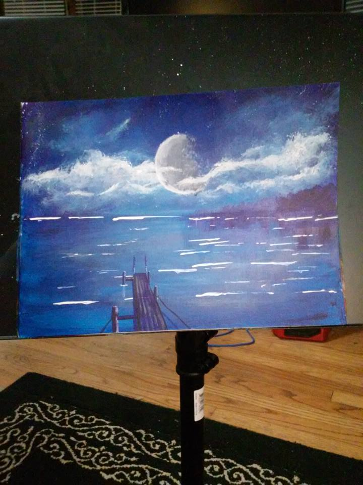 Night Ocean Painting 04202017 by DungeonmasterJim