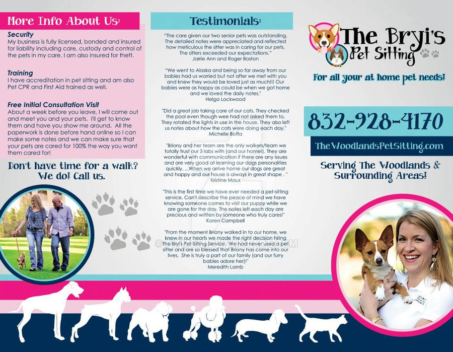 the bryi s pet sitting service brochure by pitmom on deviantart