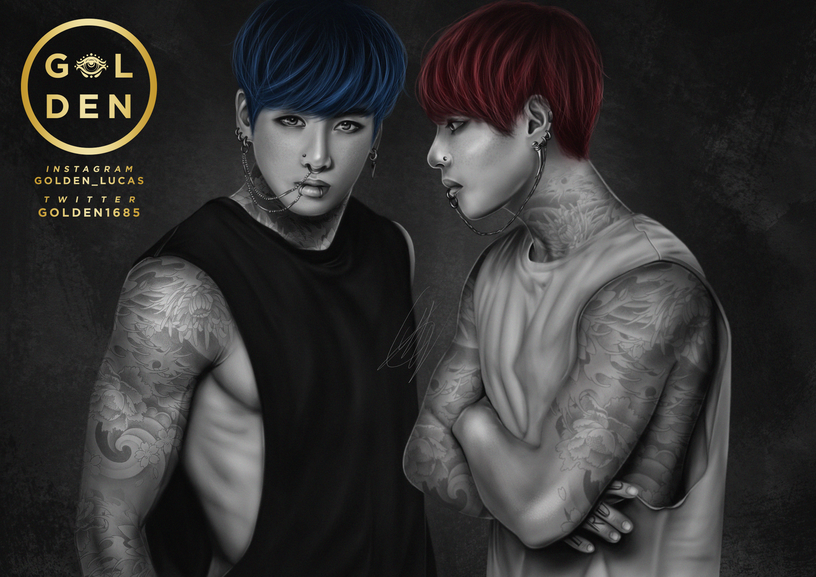 Jungkook Tattoo Shop: Inked Boys By GOLDENDesignCover On