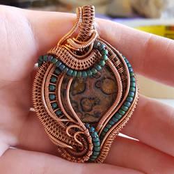 Wire Wrap Jasper Pendant 1 by OphidianWire