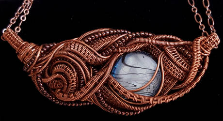 Moon and Spiral Wire Pendant by OphidianWire