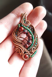 Blue and Red Wire Wrap Pendant by OphidianWire