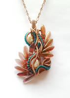 Glass Feathers Wire Pendant