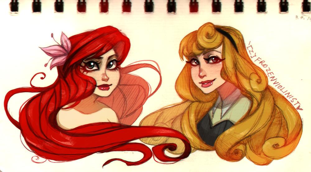 Ariel and Aurora: Concept Art by ZARINAABZALILOVA