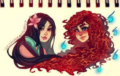 Mulan and Merida: Concept Art by ZARINAABZALILOVA