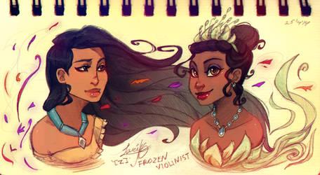Pocahontas and Tiana: Concept Art
