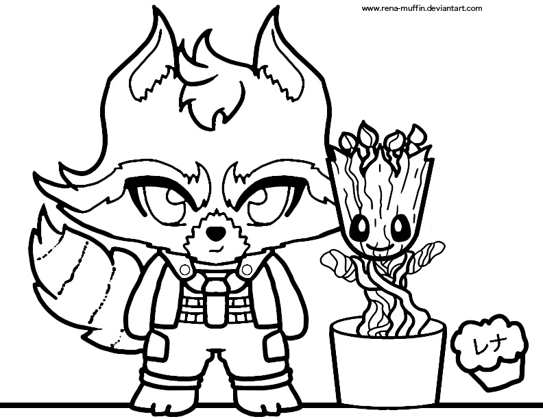 Rocket And Groot Coloring Sheet By Rena Muffin On Deviantart